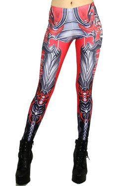 Front side image of Wholesale Premium Graphic Demon Armor Leggings
