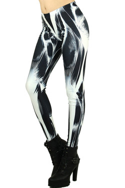 Left side leg image of Wholesale Graphic Print Black Muscle Leggings