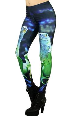 Left Side Image of Wholesale Premium Graphic Iguana Leggings