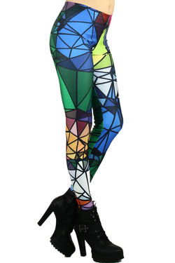 Right Side Image of Wholesale Premium Graphic Crystal Shapes Leggings