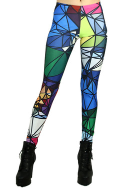 Front side image of Wholesale Premium Graphic Crystal Shapes Leggings