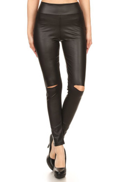 High Waisted Matte Faux Leather Leggings with Knee Slash