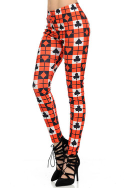 Wholesale Graphic Print Playing Card Leggings