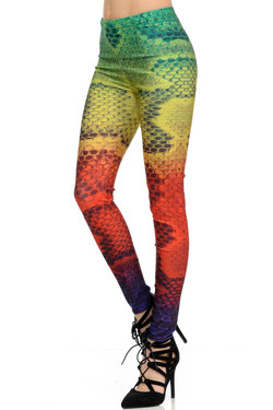 Wholesale Graphic Colorful Snakeskin Leggings