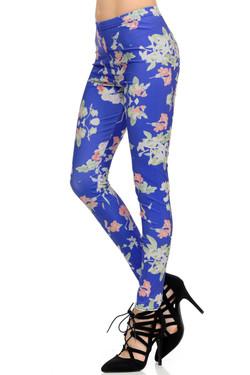 Wholesale Graphic  Blue Blooming Flowers Leggings