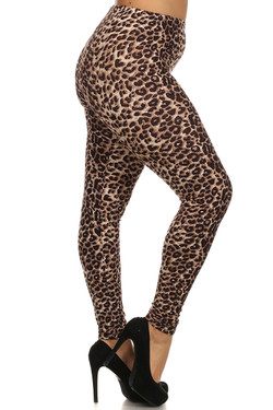 Right side leg image of Wholesale Buttery Soft Extra Plus Size Cheetah Leggings