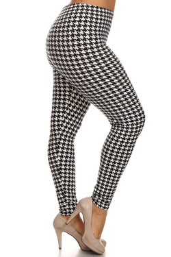 Right leg side image of Wholesale Buttery Soft Plus Size White Houndstooth Leggings - 3X-5X