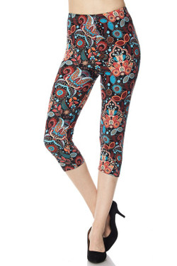 Wholesale Buttery Soft Blue Floral Paisley Capris