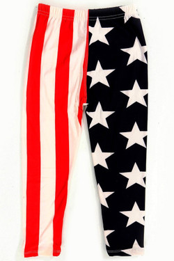Wholesale Buttery Soft Split USA Flag Kids Leggings
