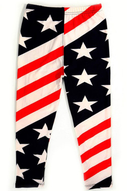 Wholesale Buttery Soft Twist USA Flag Kids Leggings