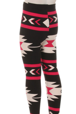 Wholesale Buttery Soft Fuchsia Aztec Tribal Kids Leggings