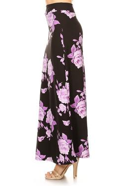 Wholesale Buttery Soft Jumbo Purple Rose Maxi Skirt