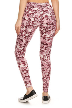 Wholesale Premium Brushed High Waisted Rosetta Rose Sport Leggings