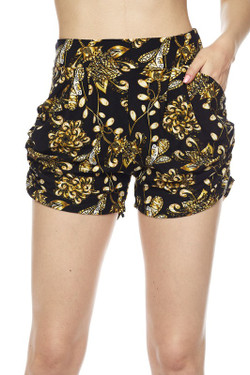 Wholesale Buttery Soft Golden Wreath Harem Shorts