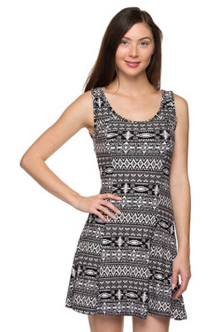 Wholesale Buttery Soft Ancient Tribal Fit and Flare Dress