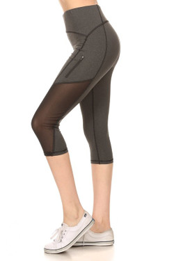 Wholesale Women's Side Mesh Panel Sport Capris