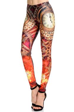 Wholesale Premium Graphic Print Crimson Time Steampunk Leggings