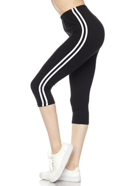 Wholesale Buttery Soft Sport Stripe Basic Capris