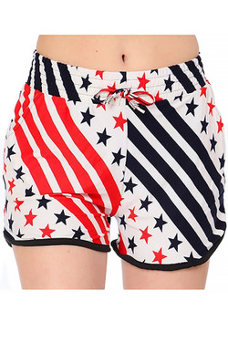 Wholesale Buttery Soft Twirling USA Flag Shorts