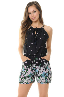 Wholesale Floral Summer Sprinkles Spaghetti Romper