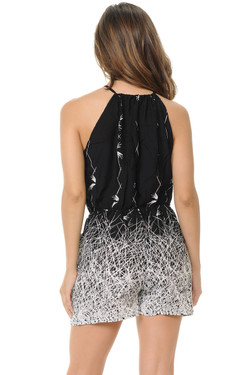 Wholesale Cascading Black and White Summer Spaghetti Romper
