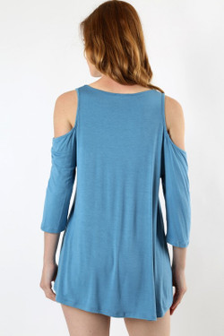 Wholesale Premium Loose Fit Cold Shoulder Rayon Top