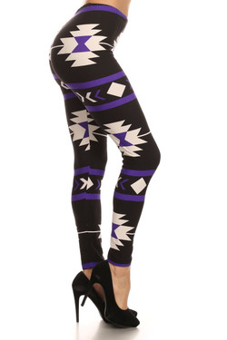 Wholesale Buttery Soft Purple Azteca Tribal Leggings