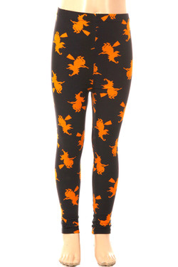 Wholesale Buttery Soft Broomstick Witches Kids Leggings