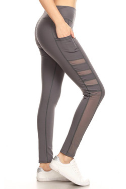 Wholesale Premium Side Pocket Tri-Mesh Workout Leggings