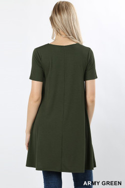 Wholesale Premium Round-Neck Straight Hem Tunic with Pockets