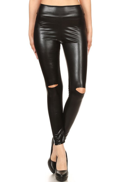 High Waisted Shiny Faux Leather Leggings with Knee Slash