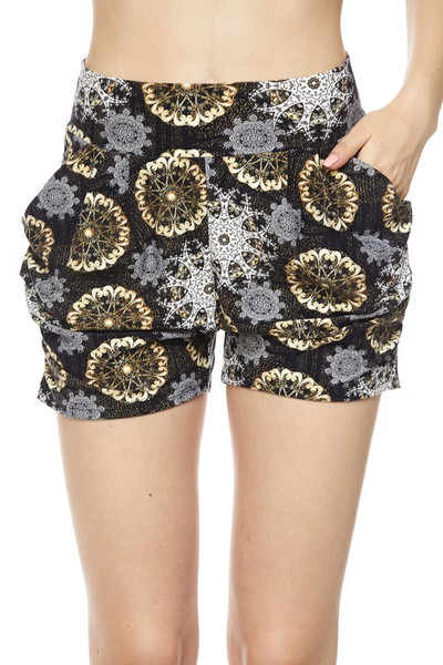 Wholesale Buttery Soft  Chic Crystal Mandala Harem Shorts