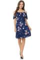 Wholesale Blue Flowing Floral Summer Dress