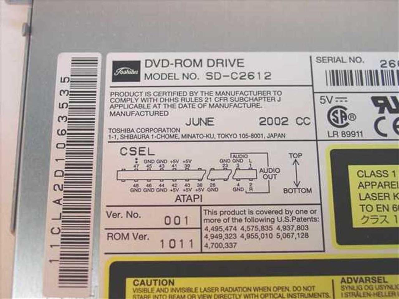 Driver toshiba dvd-rom sd-c2612.
