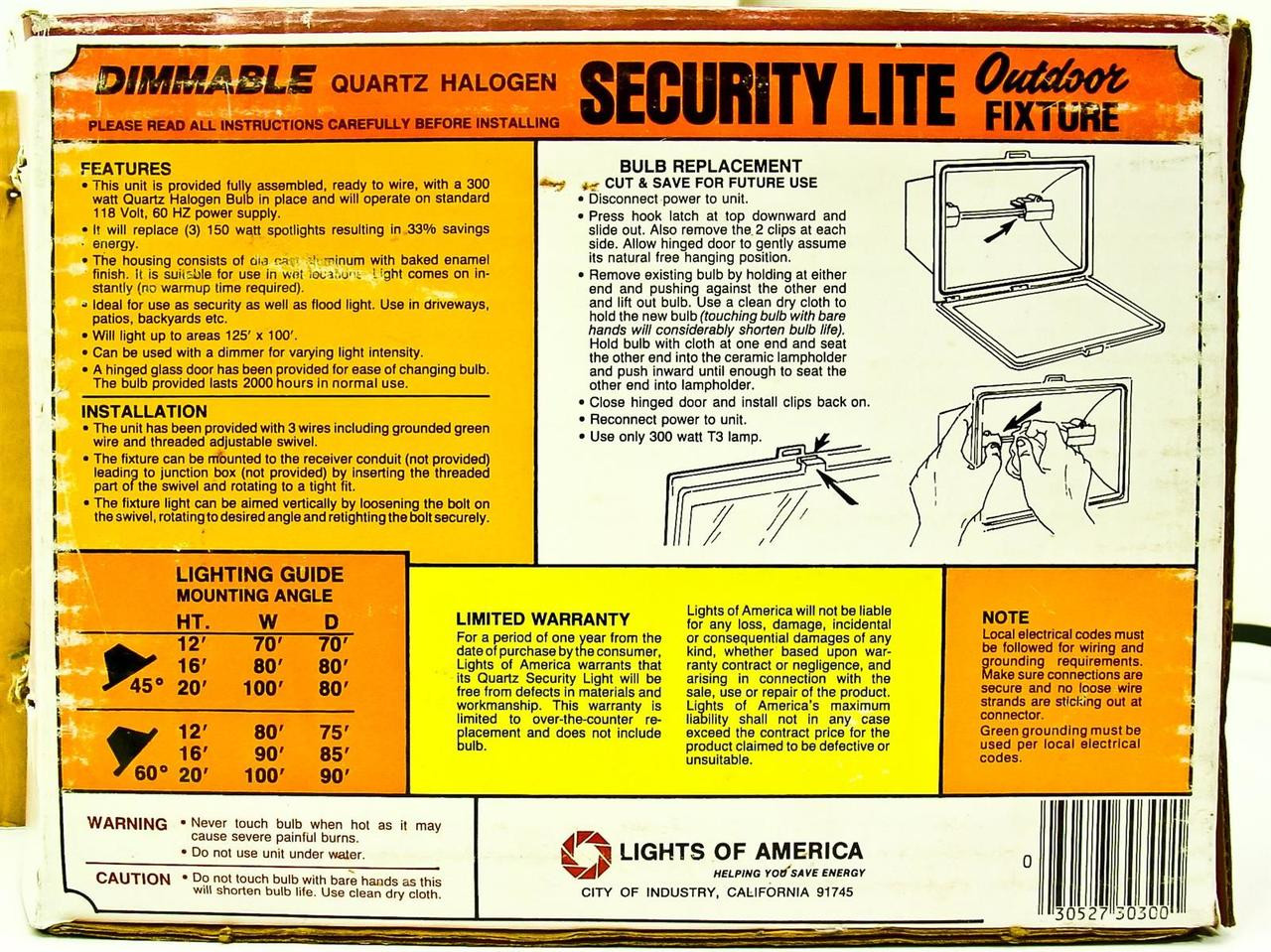 Lights Of America 3030 Outdoor Security Lite Fixture Wiring A Light Green Wire