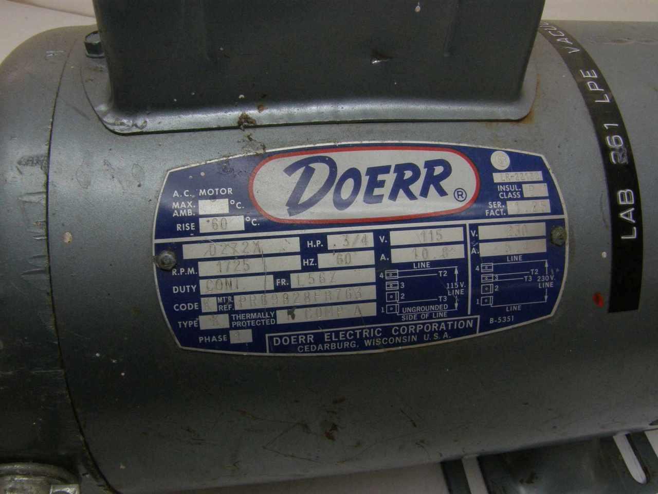 Gast 1022 V103 0272x Oil Less Vacuum Pumpdoerr Motor D272x Oilless Pump Wire Diagram