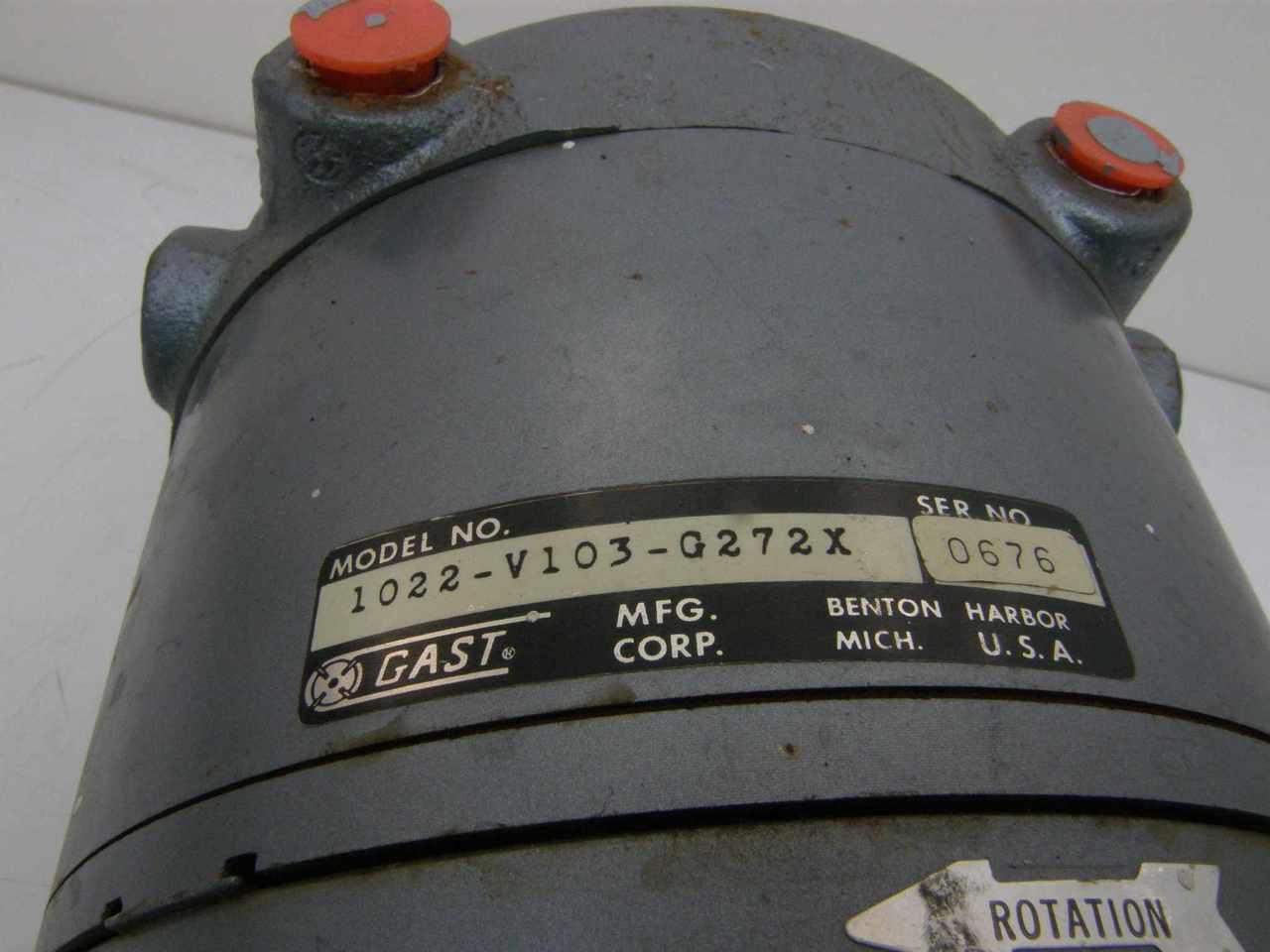 Gast 1022 V103 0272x Oil Less Vacuum Pumpdoerr Motor D272x Pumps Wiring Diagram
