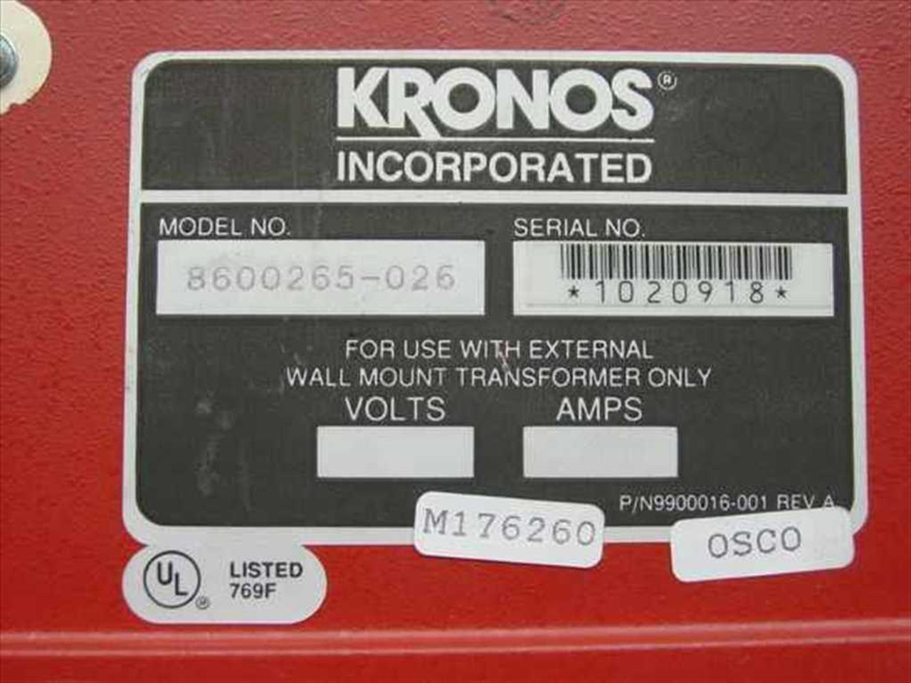 Kronos 480f Time Clock For Sale: Kronos 8600265-026 Wall Time Clock
