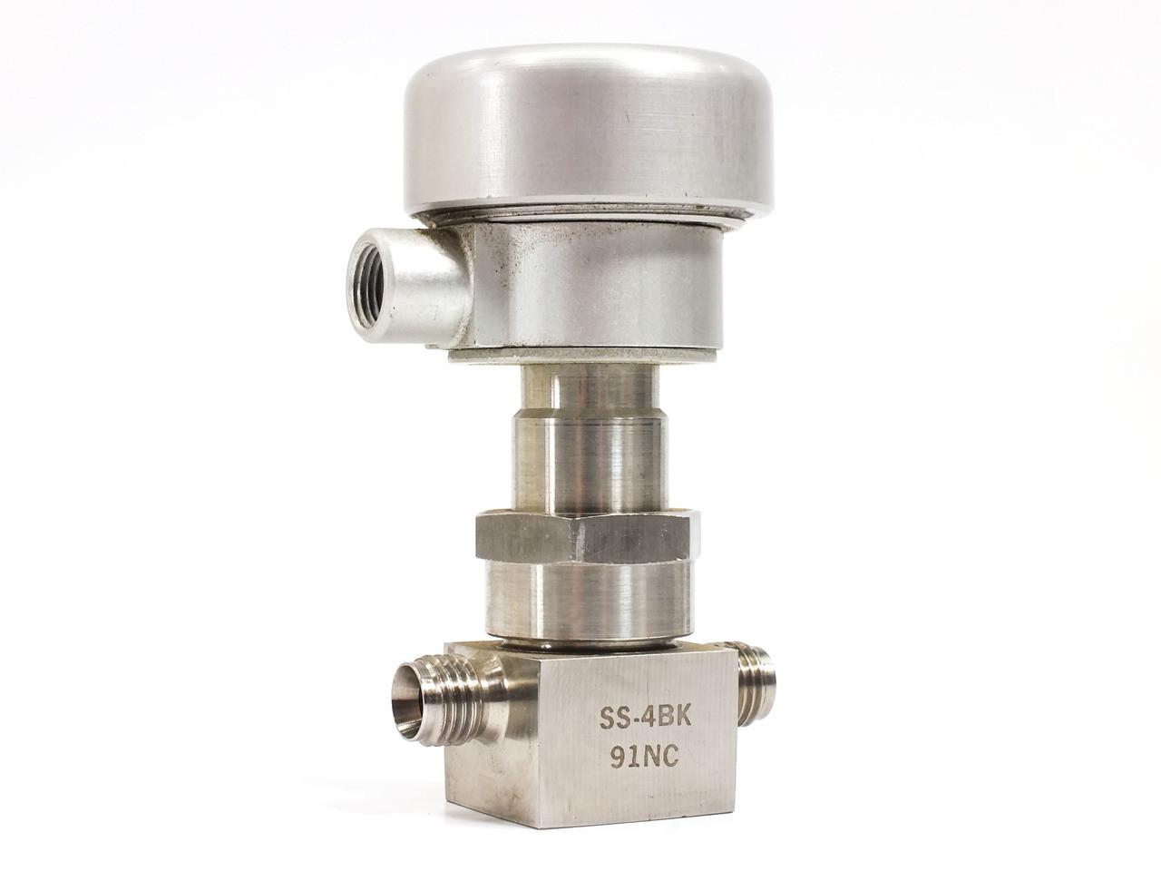 Nupro ss bk nc pneumatic actuated bellows valve
