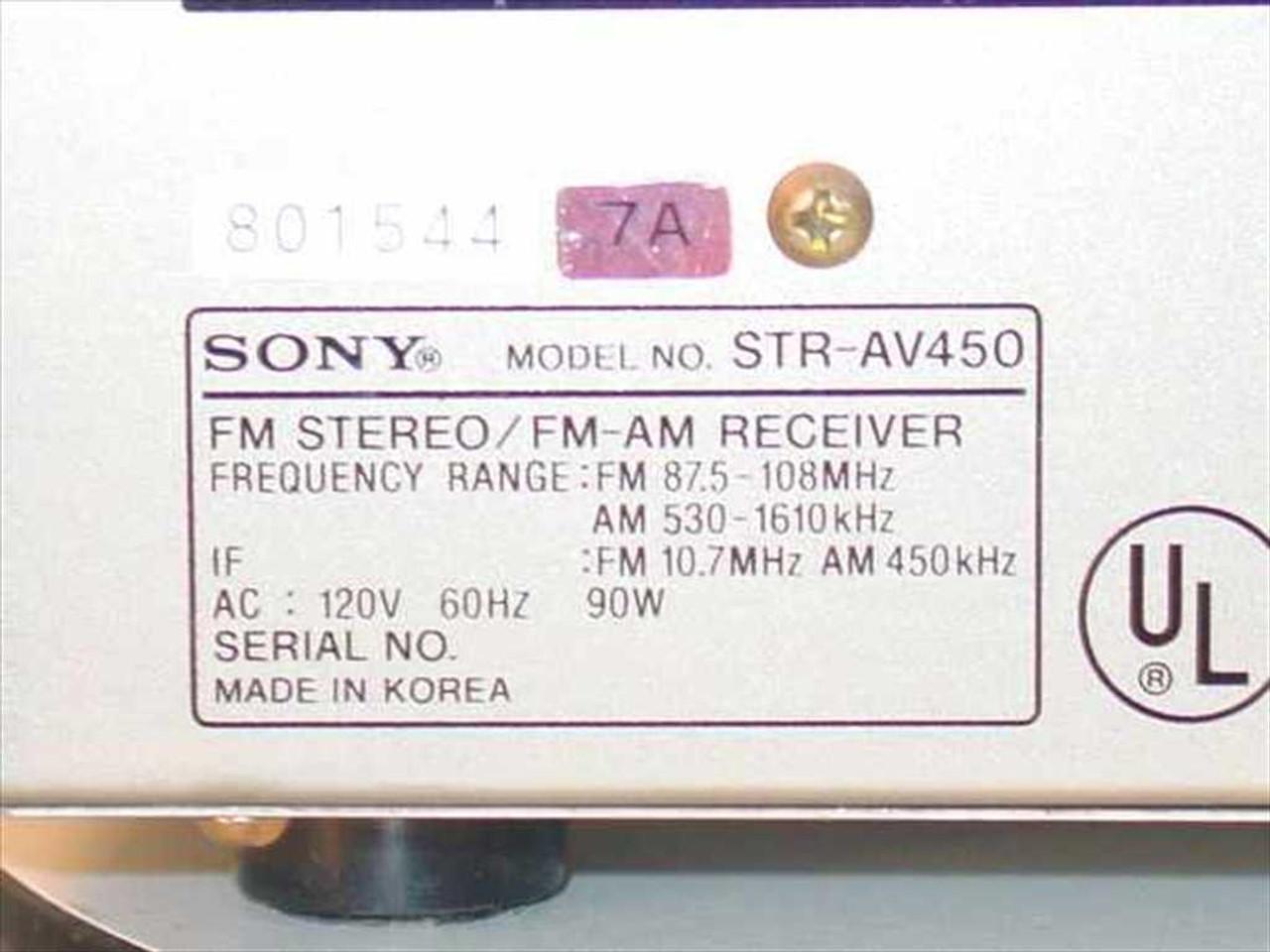 Sony Str Av450 Fm Stereo Am Receiver