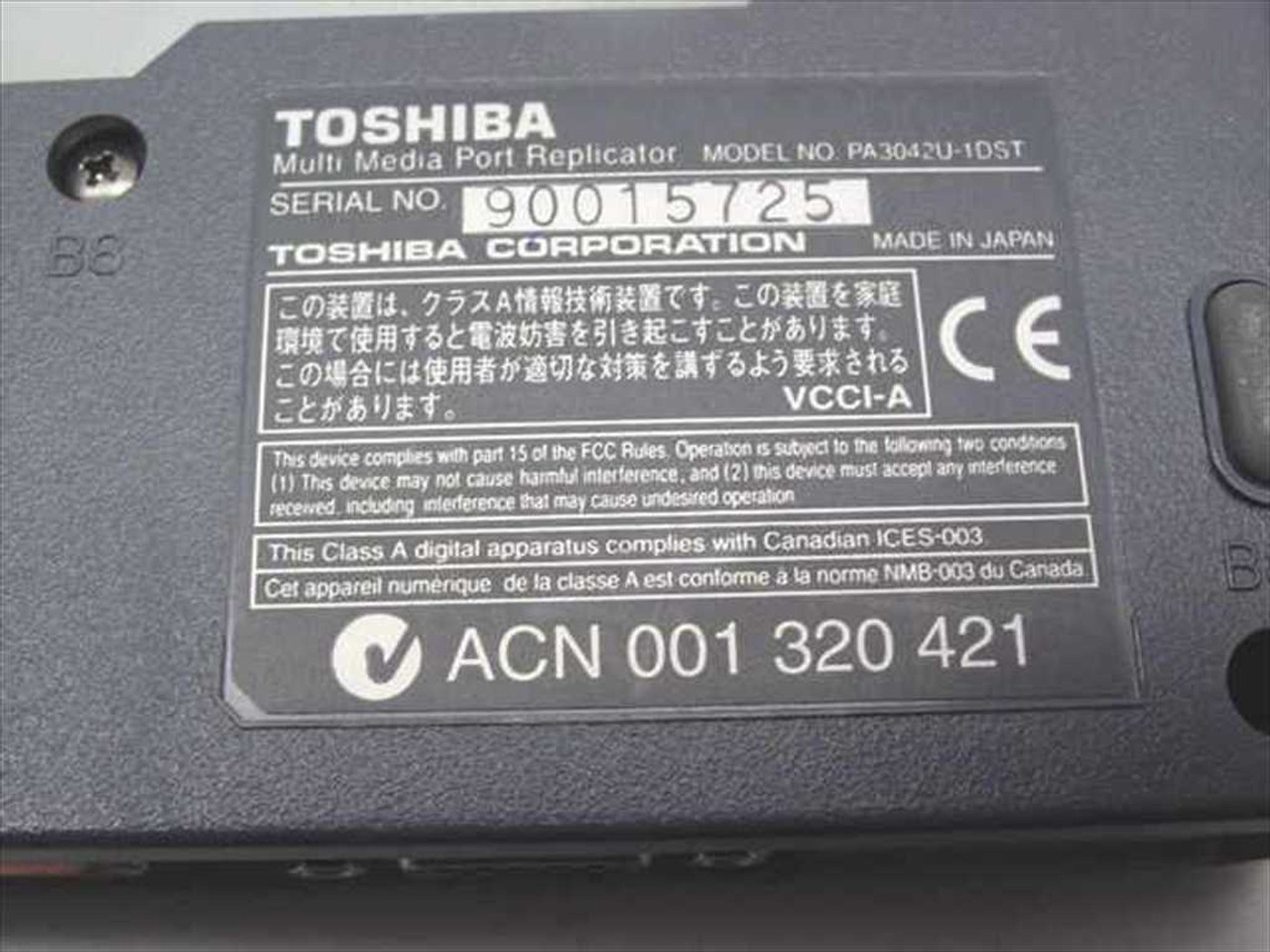 Toshiba Pa3042u 1dst Portege 3440ct Multimedia Port Replicator Psc0 Laptop Wiring Diagram
