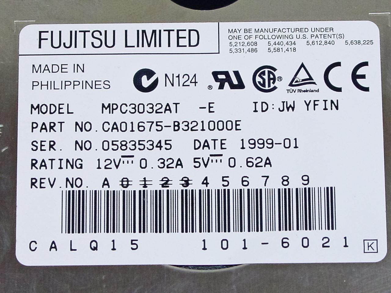 fujitsu mpc3032at 3 2gb 3 5 ide hard drive part no. Black Bedroom Furniture Sets. Home Design Ideas