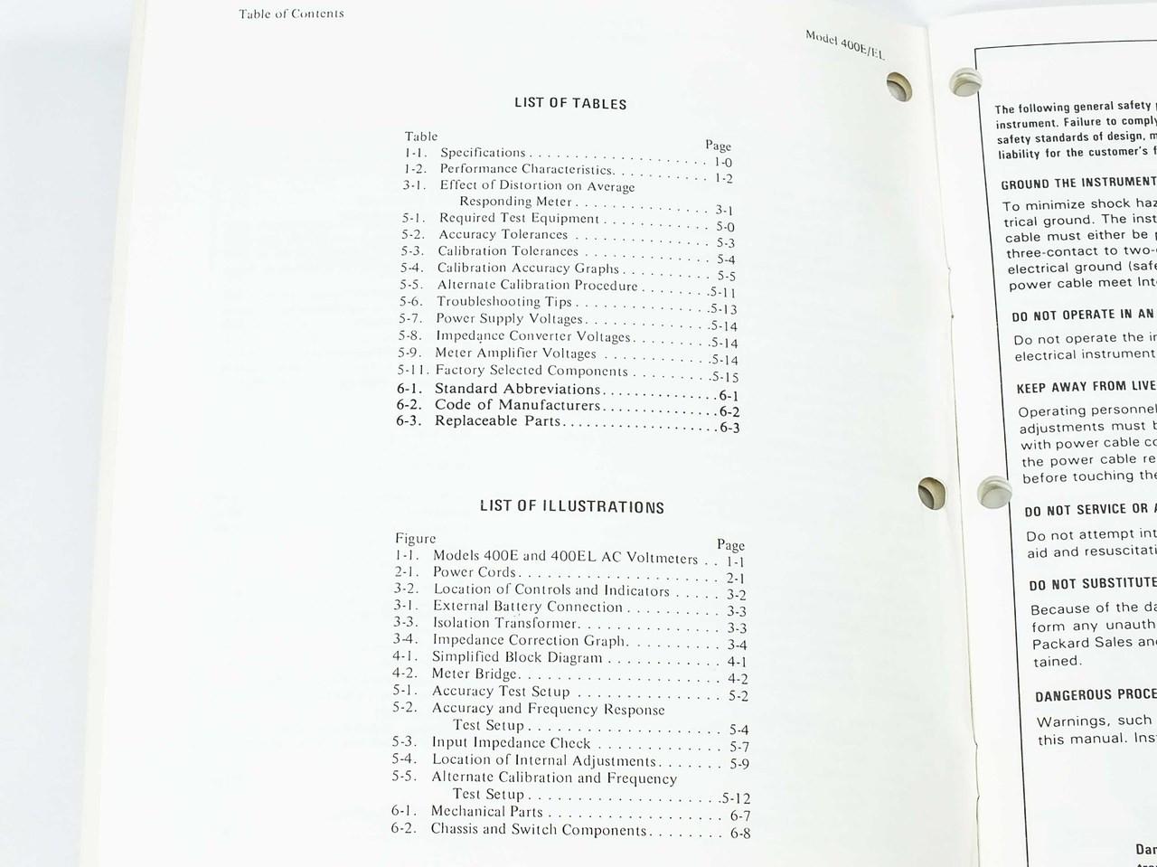 HP 400E/400EL AC Voltmeter Operating and Service Manual