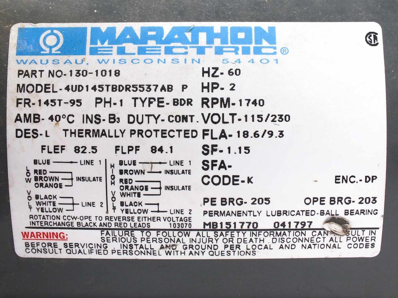 Marathon Electric 130 1018 2 Hp 115 230 1ph Motor 3 Phase Wiring Diagram 4ud145tbdr5537ab P
