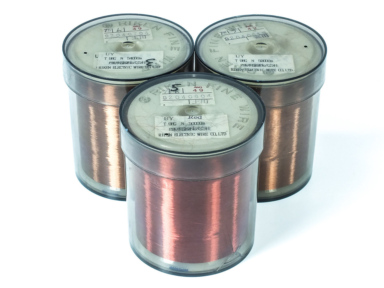 Riken AWG 49 Lot of 3 Electric Wire Co 50000 Meter Magnet Wire *AS ...