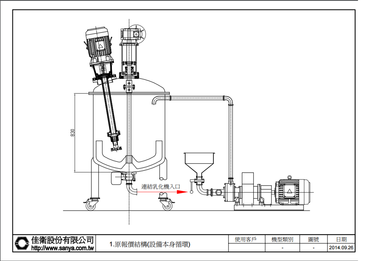 San Ya Colloid Mill Horizontal 5hp with 300L SS Vacuum