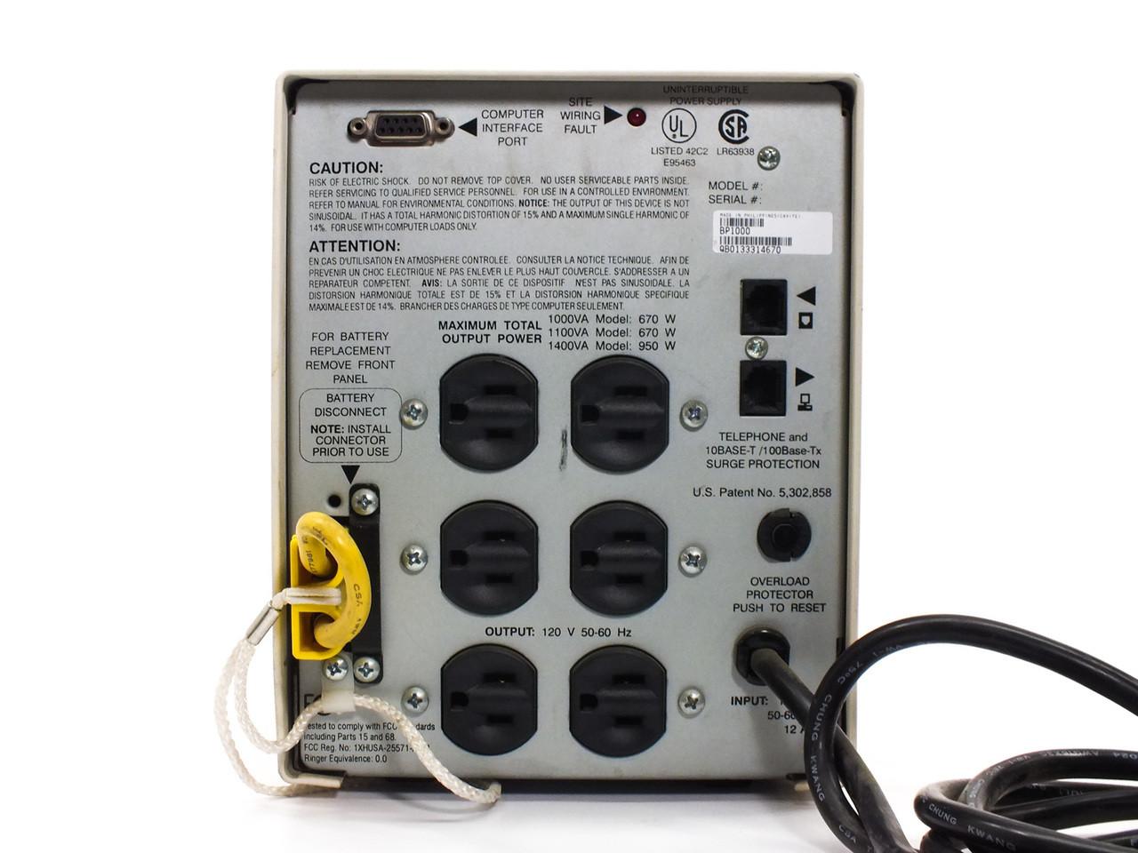 Apc 1000 Va Back Ups Pro 1000 670watts 6 Port (bp1000) No Battery Apc  Bp1000 Wiring Diagram