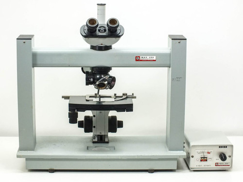 """Carl Zeiss Schram H Stand Microscope with Trinocular Head for Large 8"""" Wafers"""