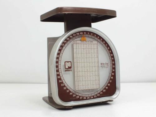 """Pelouze Y-50 Vintage 70's Era Postal Scale 50-LBS 2-OZ 5"""" x 4"""" Platform"""
