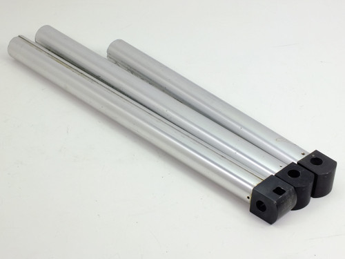 "Lot of 3  Microscope Stand Mounting Poles 16.5"" and 20.5"" Long with 0.25"" Grooved Shaft"